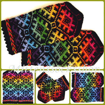 Hand knitted rainbow wool mittens Winter gloves Warm unisex mittens Warm gloves Patterned mittens Colorful mittens Latvian mittens Gift idea