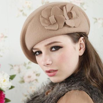Autumn Winter Felt Trilby Women Beret British Elegance Wool Hat Flowers Adjustable Size Female Caps Vintage Homburg Hat CP103