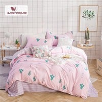SlowDream Cactus Pink Bedding Set Nordic Duvet Cover Comforter Bedspread Bed Linen Set Double Sheets Queen King Adult Bedclothes