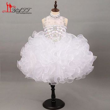 Liyatt Crystal Beaded Short Flower Girl Dresses High Neck Ball Gown Ruffles Organza Cute Girls Prom Dress Pageant Party Gown