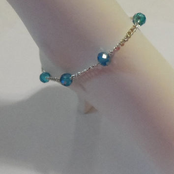 Blue ankle bracelet, Silver ankle bracelet, blue anklet, crystal anklet, body jewelry, silver anklet, gifts for her, girls ankle bracelet