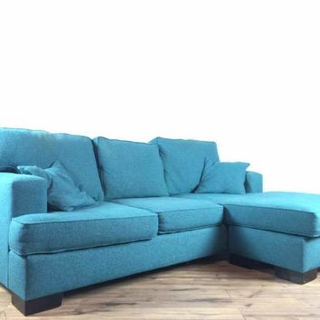 Contemporary Blue Upholstered Custom Sectional Sofa