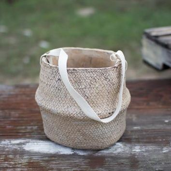 Woven Cement Planter - Natural With Cotton Handles