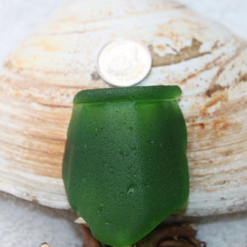 STUNNING BEACHGLASS JEWEL Beautiful Green Pendent size Bottle Neck  Genuine Seaglass zy896