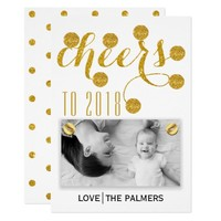 Modern cheers to 2018 gold glitter New Year photo Card
