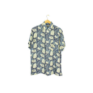 90s mens silk shirt / vintage 1990s / wild abstract floral pattern / robert stock /