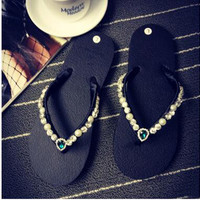 2016 summer women rhinestones pearl thong sandals Beads shiny diamond slipeprs woman sexy beach flats sandal