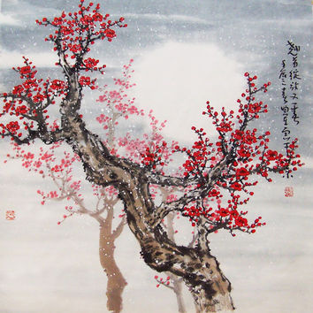 Original painting chinese art oriental art Lovely cherry by art68
