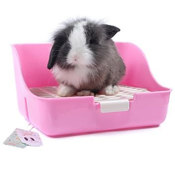 Mkono Rabbit Cage Litter Box Easy to Clean Potty Trainer for Guinea Pig Ferret Small Animals (Random Color)