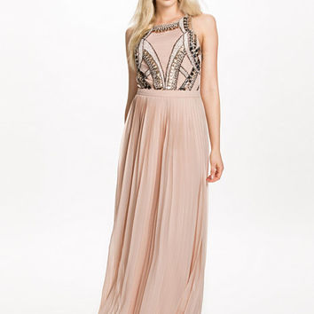 Embellished Top Pleated Maxi Dress, River Island