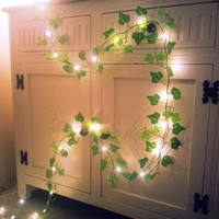 Green Ivy leaf garland 2.1m with mini led fairy string lights stunning wedding decoration, christmas, woodland, enchanted forest
