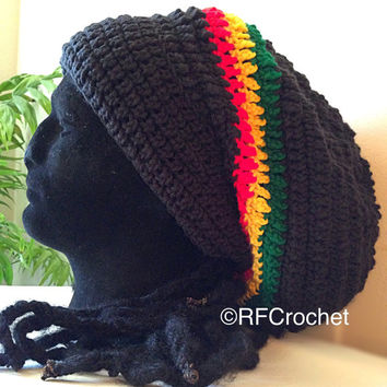 Rasta | XL Long Black Slouchy Beanie | Dreadlocks | African | Adult Beanie | Men | Women | Tam | Free Shipping in USA | Locs