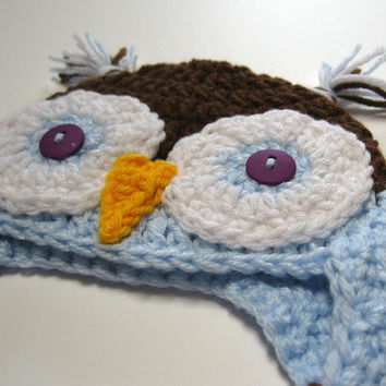 Owl hat.  Newborn.  Crochet.  Ready to ship.  Photo prop.  Baby shower gift.  Baby boy.  Baby girl.  Earflap hat.