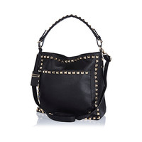 River Island Womens Black studded slouch bag