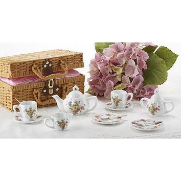 Childrens Porcelain Girls Tea Set - Daisies in Wicker Style Basket - FREE TEA INCLUDED!