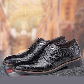 Men Pointed Toe Alligator Pattern Lace Up Formal Shoes