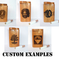 "Custom made to order wood burned Carved GenuineTeak wood 4"" smoke stopper dugout and one hitter"