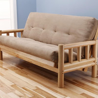 Lodge Futon Frame in Natural Wood with Suede Peat Innerspring Mattress