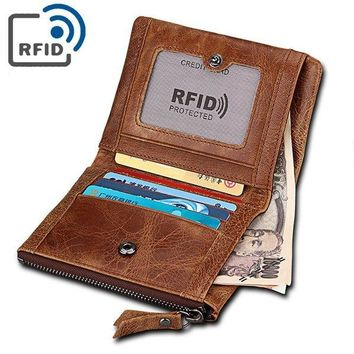 RFID 5 Card Holders Vintage Genuine Leather Coin Bag Casual Wallet For Men