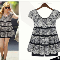 Plus Size Women's Fashion Summer Slim Floral Short Sleeve Chiffon One Piece Dress [6338881281]