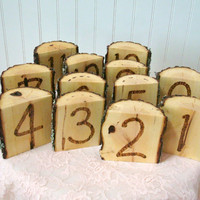 Rustic Wedding Table Numbers Wood Slice Wood Burned Set of Twelve