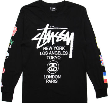 Stussy - World Tour Flags L/S T-Shirt (Black)
