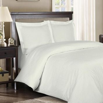 600TC Comforter Set 100% Combed Cotton Striped 4-Piece