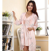 Freeshipping Spring/Summer Sexy Women's Spaghetti Strap Nightgown Sleepwear Female Silk Robe Twinset Lounge Set