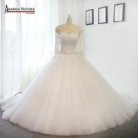 Stunning Puffy Luxury Long Train Wedding Dresses Wedding Gown 2017