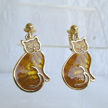 Gold Basse-Taille Enamel Cat Dangle Clip On Earrings Figural Jewelry