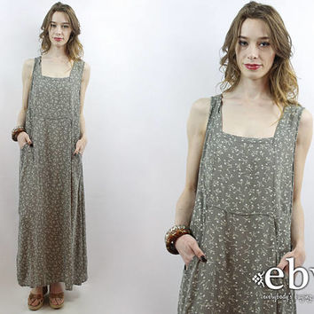 Grey Floral Maxi Dress 90s Maxi Dress Grey Floral Dress Gray Floral Dress Plus Size Dress Plus Size Vintage XL 1X Soft Grunge Dress Jumper