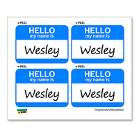 Wesley Hello My Name Is - Sheet of 4 Stickers