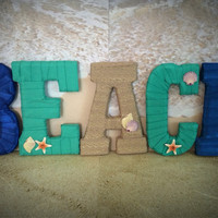 Beach Theme Decor-Handmade Decorated Letter Set by Tightly Wound Designs