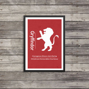 Gryffindor Minimalist Poster | House poster | Harry Potter Poster |  Kids room decor | Harry Potter art