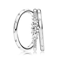 Original Real 925 Sterling Silver Fairytale Sparkling Ring Stack For Women Wedding Engagement Party Gift Fine Pandora Jewelry