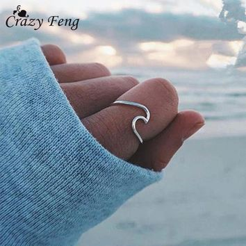 Fashion Antique Silver Color Ocean Wave Rings for Women Simple Metal Surfer Midi Ring Knuckle 2018 Summer Surf Rings Wire Ring