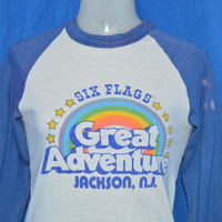 80s Six Flags Great Adventure Rainbow Jersey t-shirt Extra Small