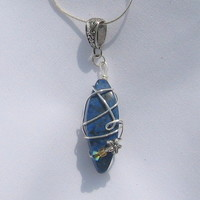 Necklace - Faux Lapis Pendant