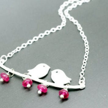 Tourmaline Necklace - Silver Bird in Sterling Silver Necklace- Bird Necklace