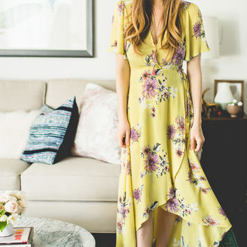 Devon Chartreuse Floral Wrap Dress