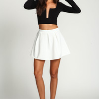 Ivory Pleated Flare Skirt