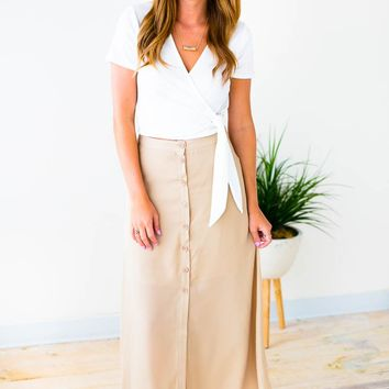 Comes and Goes Button Maxi Skirt