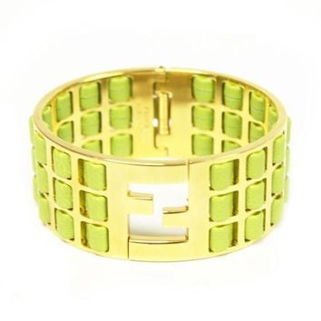 Fendi Green Lamb Leather Gold Metal Bracelet Fendista Cuff 8AG137