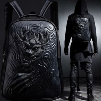 BytheR Men's Black Stylish Bag Demon Embossing Backpack FauxLeather P000BEOX