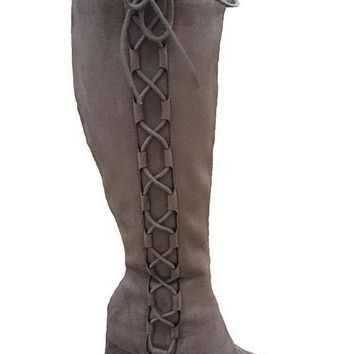 Zoe Taupe Suede Side Lace Up Boot