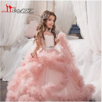 Cloud little flower girls dresses for weddings Baby Party frocks sexy children hristmas Dress kids prom dresses evening gowns