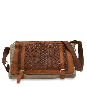 Woven Abby Messenger Bag in Wheat
