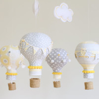 Yellow and Grey Baby Mobile, Hot Air Balloon Mobile, Nursery Decor, Personalized Baby Gift, Baby Shower, i107