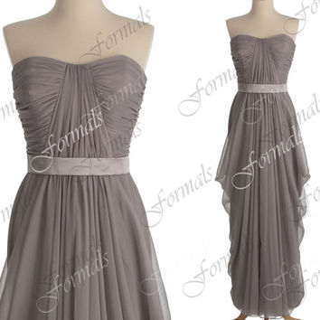 Strapless Sweetheart Chiffon Gray Long Bridesmaid Dresses, Gray Prom Dresses, Gray Evening Gown, Wedding Party Dresses