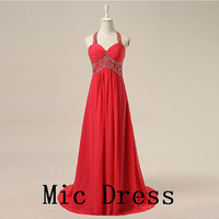 Halter sleeveless floor-length red chiffon with beading pleated long prom/Evening/Party/Homecoming/cocktail /Bridesmaid/Formal Dress